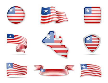 Liberia flags collection. Flags and outline of the country vector illustration set Ilustração