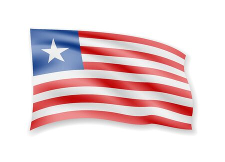 Waving Liberia flag on white. Flag in the wind vector illustration.
