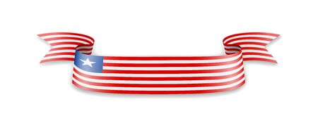 Liberia flag in the form of wave ribbon. Vector illustration.