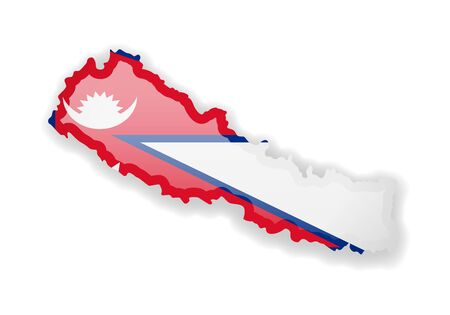 Nepal flag and outline of the country on a white background. Vector illustration.