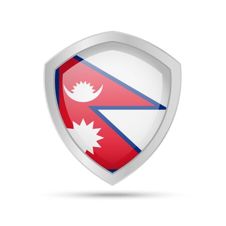 Shield with Nepal flag on white background. Vector illustration.