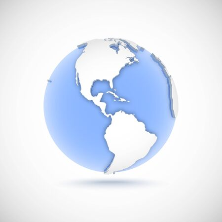 Volumetric globe in white and blue colors. 3d vector illustration with continents America, America, North, South and Central America on light gray background