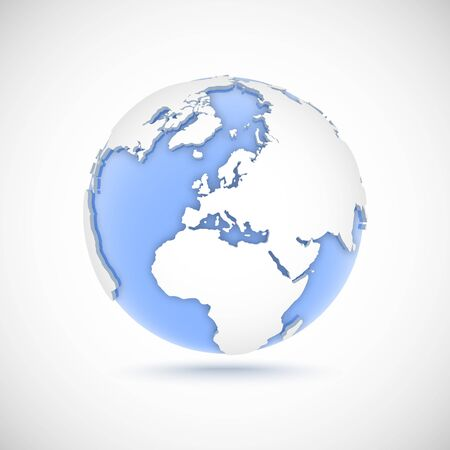 Volumetric globe in white and blue colors. 3d vector illustration with continents America, Europe, Africa, Asia on light gray background
