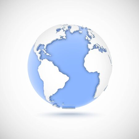 Volumetric globe in white and blue colors. 3d vector illustration with continents America, Europe, Africa on light gray background