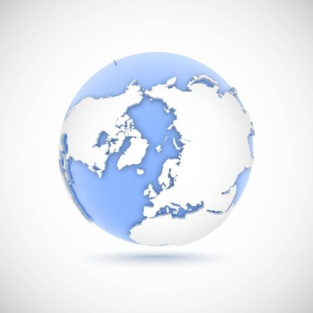 Volumetric globe in white and blue colors. 3d vector illustration North Pole on light gray background