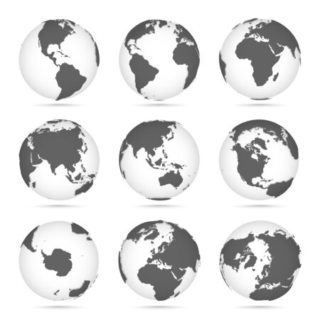 Globe set gray and white, vector icons Earth with outline continents. Gray continent and white water. Vector illustration Ilustração