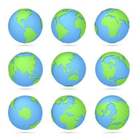 Globes icon collection. World map. Planet with continents Africa, Asia, Australia, Europe, North America and South America, Antarctica Ilustração