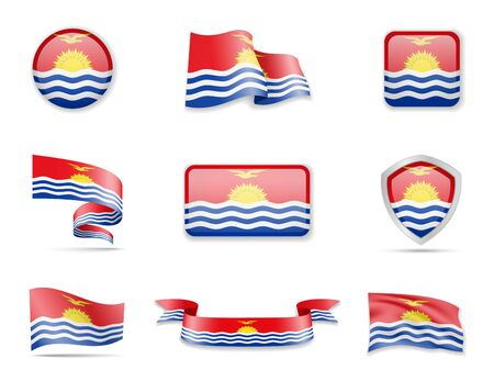 Kiribati flags collection. Flags and outline of the country vector illustration set