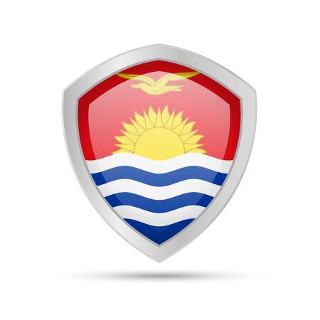 Shield with Kiribati flag on white background. Vector illustration.