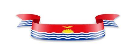 Kiribati flag in the form of wave ribbon. Vector illustration.