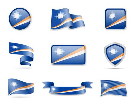 Marshall Islands flags collection. Flags and outline of the country vector illustration set