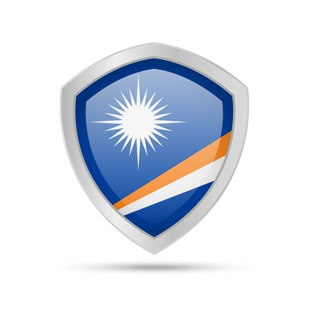 Shield with Marshall Islands flag on white background. Vector illustration.