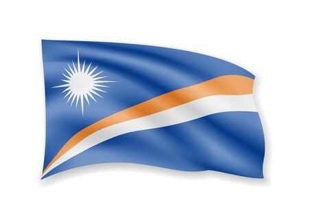 Waving Marshall Islands flag on white. Flag in the wind vector illustration. Ilustração
