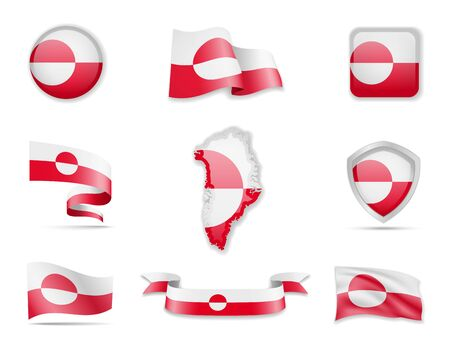 Greenland flags collection. Flags and outline of the country vector illustration set