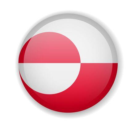 Greenland flag round bright icon vector Illustration Ilustração