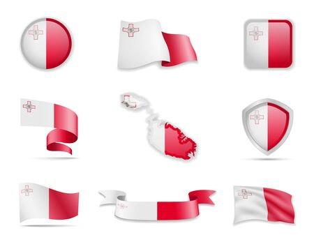 Malta flags collection. Flags and outline of the country vector illustration set Ilustração