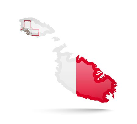 Malta flag and outline of the country on a white background. Vector illustration.