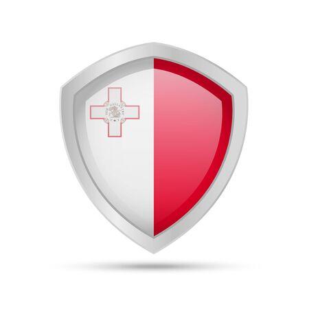 Shield with Malta flag on white background. Vector illustration. Ilustração
