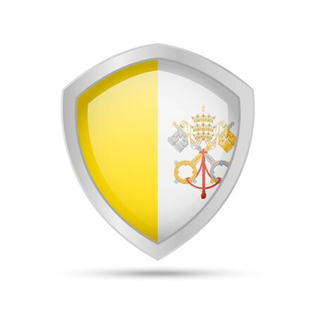 Shield with Vatican flag on white background. Vector illustration. 向量圖像