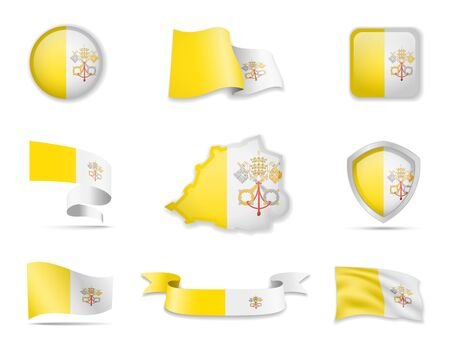 Vatican flags collection. Flags and outline of the country vector illustration set