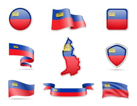 Liechtenstein flags collection. Flags and outline of the country vector illustration set