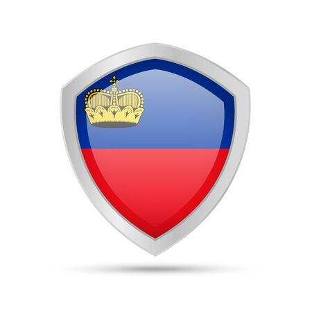 Shield with Liechtenstein flag on white background. Vector illustration.