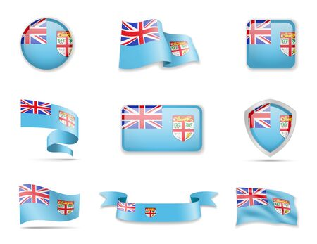 Fiji flags collection. Flags and outline of the country vector illustration set Ilustração
