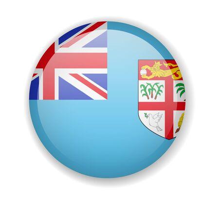Fiji flag round bright icon vector Illustration Ilustração