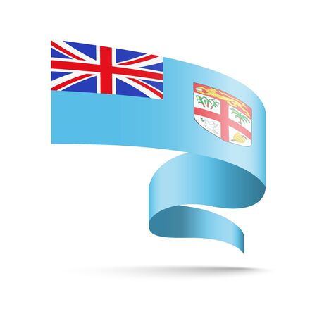 Fiji flag in the form of wave ribbon vector illustration on white background.