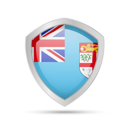 Shield with Fiji flag on white background. Vector illustration.