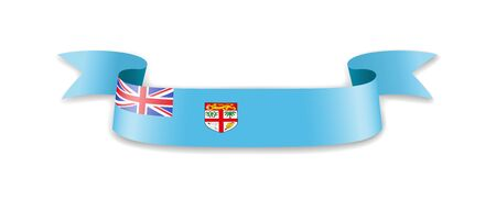 Fiji flag in the form of wave ribbon. Vector illustration.