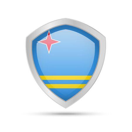 Escudo con la bandera de Aruba sobre fondo blanco. Ilustración de vector.