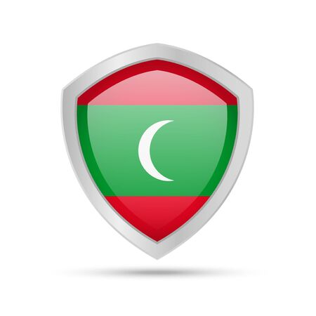 Shield with Maldives flag on white background. Vector illustration.