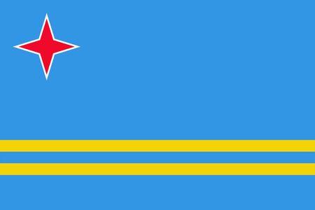 Aruba flag. Sovereign state flag of Aruba vector illustration