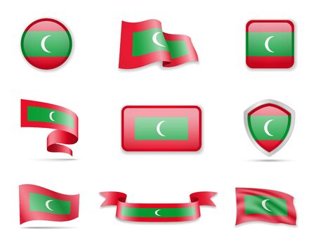 Maldives Flags Collection. Flags and contour map. Vector illustration
