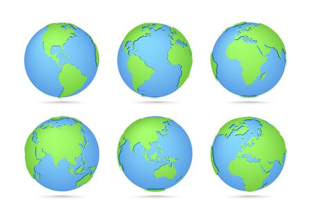 Globes icon collection. Three-dimensional map of the world. Planet with continents Africa, Asia, Australia, Europe, North America and South America