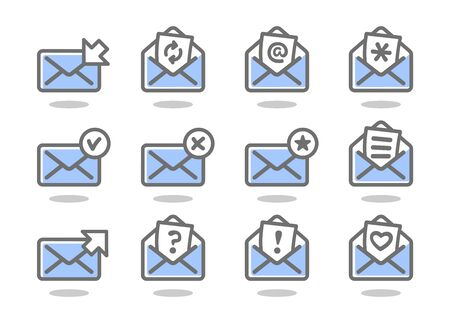 Set of flat email icons blue series. Vector illustration