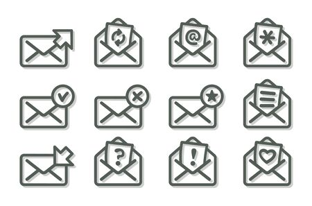 Set of flat email icons, gray series. Vector illustration