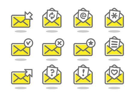 Set of flat email icons yellow series. Vector illustration Ilustração