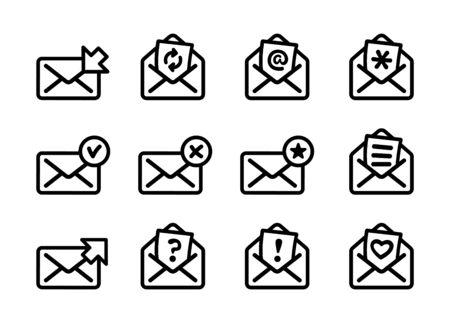 Set of flat email icons, black and white kit. Vector illustration Ilustração