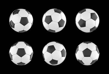 soccer ball set isolated on black background. 3d rendering Banco de Imagens