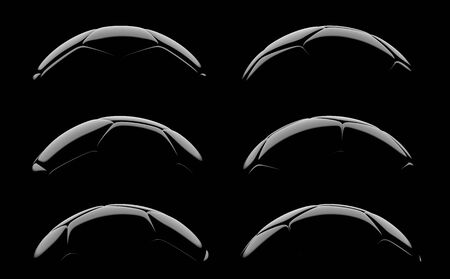 Football, soccer ball, a set of silhouettes on a black background. 3d rendering Banco de Imagens