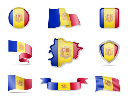 Andorra flags collection. Flags and outline of the country vector illustration set Ilustração