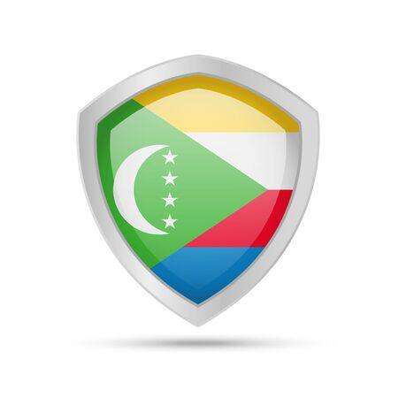 Shield with Comoros flag on white background. Vector illustration. Ilustração