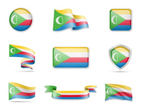 Comoros flags collection. Flags and outline of the country vector illustration set