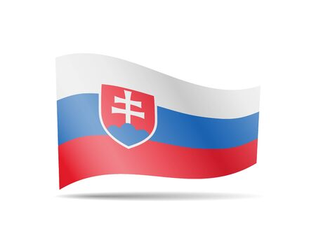 Waving Slovakia flag in the wind. Flag on white background vector illustration