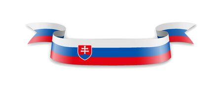 Slovakia flag in the form of wave ribbon. Vector illustration. Ilustração