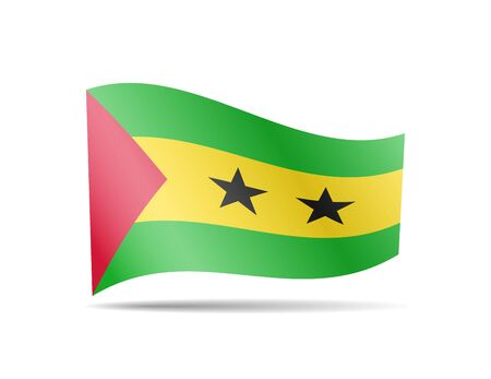 Waving Sao Tome and Principe flag in the wind. Flag on white background vector illustration Ilustrace