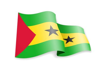 Sao Tome and Principe flag in the wind. Flag on white background vector illustration Ilustrace
