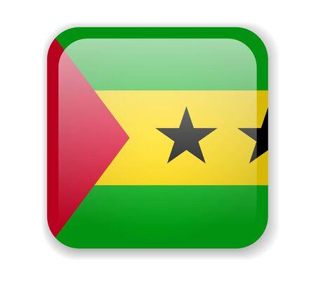 Sao Tome and Principe Flag. Bright Square Icon. Vector Illustration